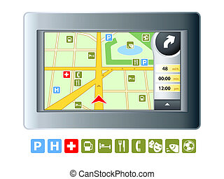 GPRS device - Abstract modern GPRS device with isolated map ...