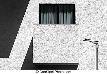 Abstract modern minimalist architecture with balcony