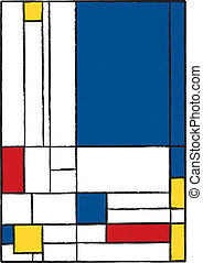 Abstract modern painting with blue, red and yellow...