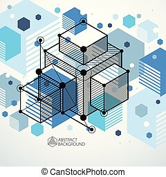 Abstract modern retro blue 3D background, geometric futuristic shapes vector illustration. Abstract scheme of engine or engineering mechanism.
