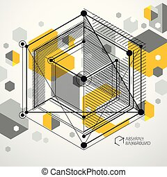 Abstract modern retro yellow 3D background, geometric futuristic shapes vector illustration. Abstract scheme of engine or engineering mechanism.