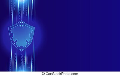 Abstract modern technology security background. Shining blue technology style security shield protection computer vector illustration