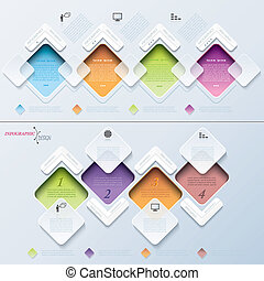 Abstract modern template infographics process with rectangles