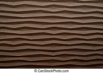 abstract, moderne, textuur, golf, hout, closeup, achtergrond