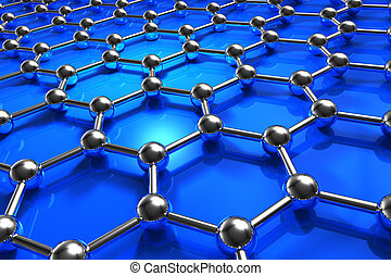 Abstract molecular nanostructure model - Abstract blue...