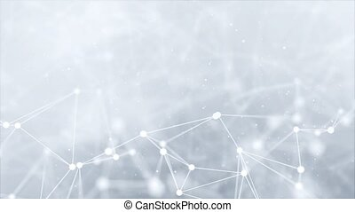 Abstract Molecular Structure Loop background presentation Clean White. Molecule DNA. Medical, science and technology . Cyber Digital data Visualization Network Polygon Connection Structure.