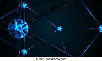 Abstract Molecular Structure with spinning camera. Seamless loop