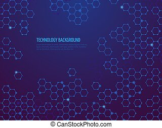 Abstract molecule background. Hexagon dna network. Science chemical and bio technologies vector concept