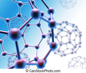 3d render of abstract molecule background in blue