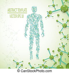 Abstract molecule based human figure concept, vector illustration
