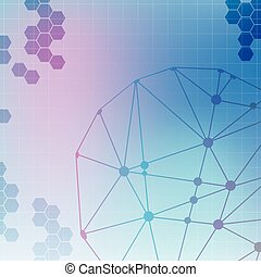 Abstract molecule blue colors background