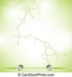 Abstract molecule green colors background