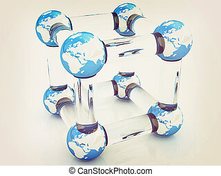 Abstract molecule model of the Earth. 3D illustration. Vintage style.