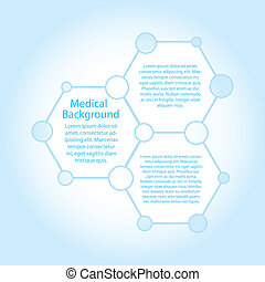 Abstract molecules medical background with copy space (vector)