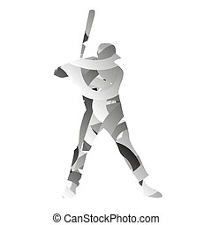Abstract monochromatic baseball player
