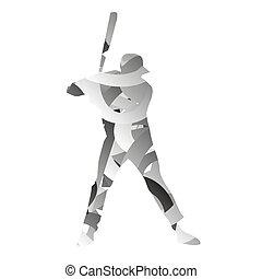 Abstract monochromatic baseball player