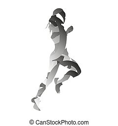 Abstract monochromatic vector running woman
