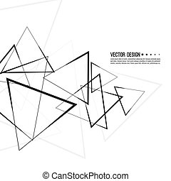 Vector intersecting triangles pattern. - Abstract monochrome...