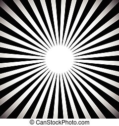 Abstract monochrome background with radiating beams, rays. Grayscale starburst, sunburst background.