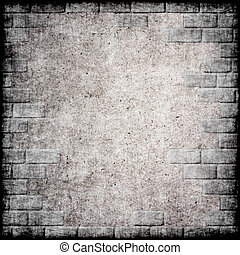 Abstract monochrome grunge background with brick frame.
