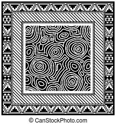 Abstract monochrome scarf design pattern-vector illustration. Hijab pattern in the frame of a square.
