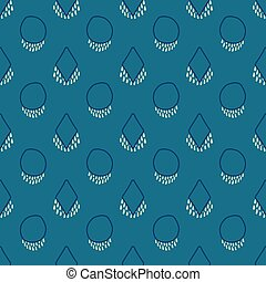 Abstract monochrome seamless vector pattern with boho earring shapes on blue background for fabric, wallpaper, scrapbooking projects or backgrounds.
