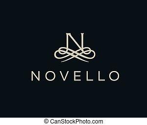 Abstract monogram elegant flower logo. Premium letter N...
