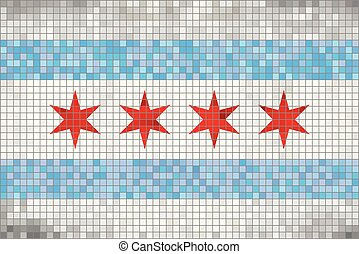 Abstract Mosaic flag of Chicago