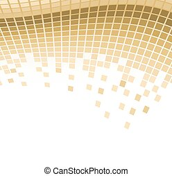 abstract mosaic golden background with flying particles. vector illustration