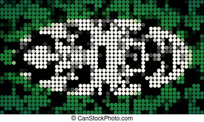Abstract mosaic of white and green dots