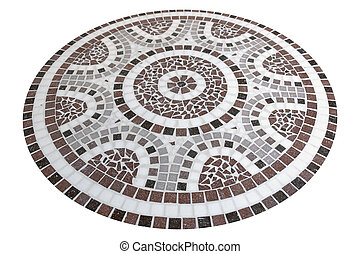 abstract mosaic pattern - pastel colored circle flagstone...