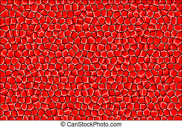 Abstract mosaic tile texture. White and black cells on red background. Geometric polygon shapes grid pattern