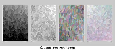 Abstract mosaic triangle tile pattern page template set - vector document background designs