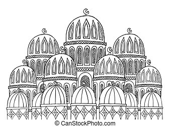 Abstract Mosque illustration. Sketchy hand drawn Doodle. Black a