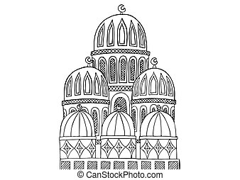 Abstract Mosque illustration. Sketchy hand drawn Doodle. Black and white abstract picture. Hand-drawn ethnic vector zentangle element. Antistress coloring book. Eps 10.