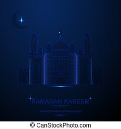 Abstract Mosque in the space, low poly style design