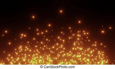 Abstract motion background of burning particles on black background. High quality FullHD footage