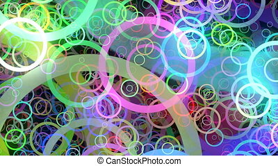colorful rings flying toward the camera