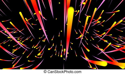 Abstract motion background, shining lights, energy waves and sparkling fireworks style particles