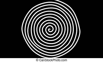 Abstract motion background with psychedelic twisting circles. Round striped black white lines.