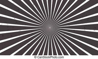 Abstract CGI motion background with rotating hypnotic spiral in perfect seamless loop. Simulate noise and old image.