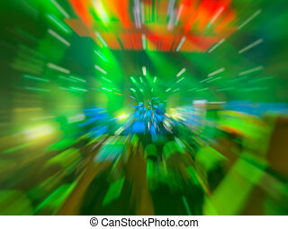 Abstract motion blur effect. Bokeh lighting in concert with audience