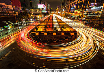 Abstract Motion Blur, Speed Traffic light trails on road, long exposure