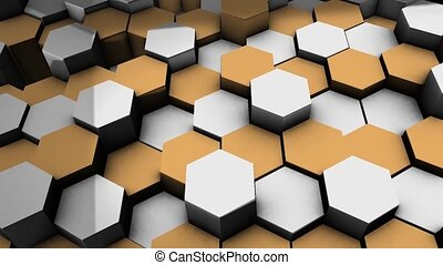 Abstract motion graphic background - random movement in up and down of hexagonal elements in white and orange with shadow effects - 3D rendering