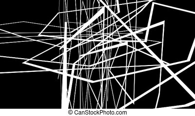 Abstract motion graphics on black background with criss cross white lines