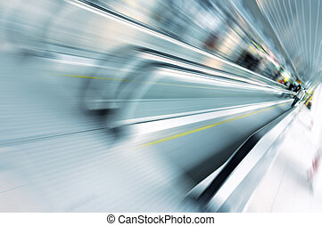 Abstract motion of escalator in gla