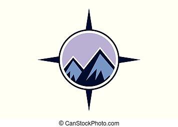 abstract mountain compass vector logo icon