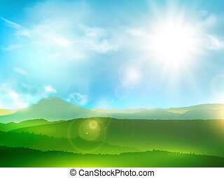 Abstract Mountain Landscape With Sun Shine and Blue Sky