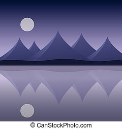 Abstract mountain landscape on the sea shore with reflection in water and moon on purple sky - vector