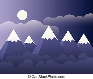 Abstract mountain landscape with forest and moon and clouds on purple sky - vector